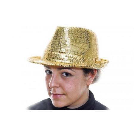 Chapeau paillettes adulte - or
