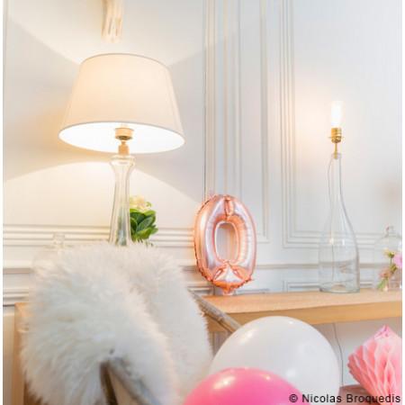 Ballon métal rose gold chiffre 0 - 36 cm