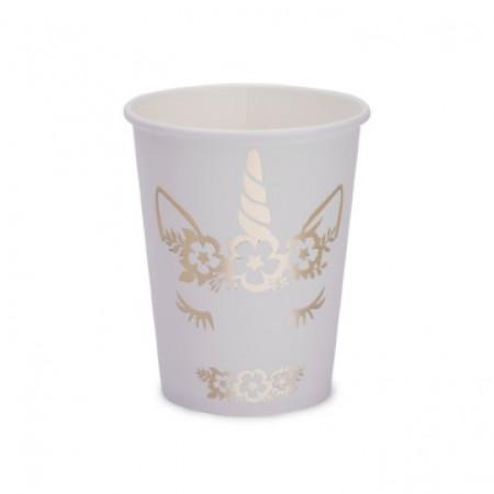 8 gobelets jolie licorne dorée
