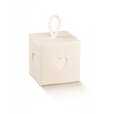 10 Boîtes à dragées fenêtre coeur à suspendre