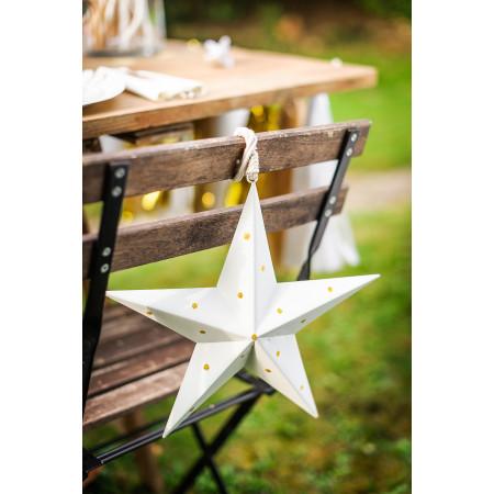 Étoile métallique à pois dorés