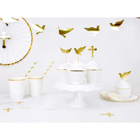 Caissettes cupcakes blanc liseré doré x 6