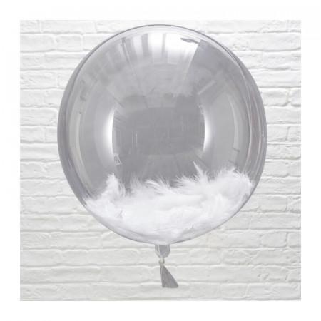 Ballons Transparent & Plume Blanche