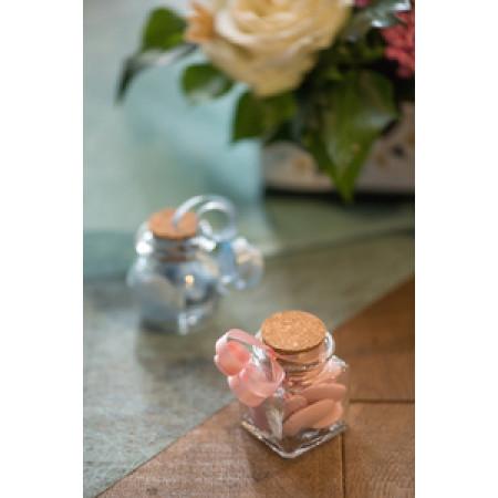 contenant à dragées pot carré en verre