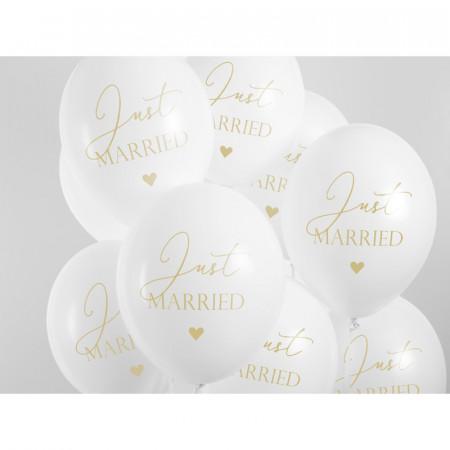 Ballons de baudruche blanc Just Married x 6