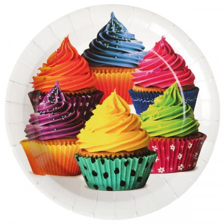 Lot de 10 Assiettes à pois multicolores - Ø 22.5 cm