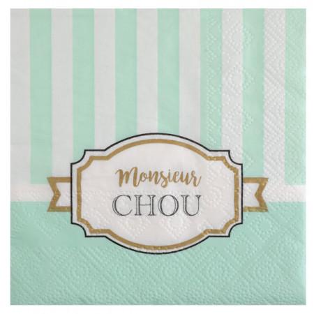 20 serviettes baby shower monsieur chou