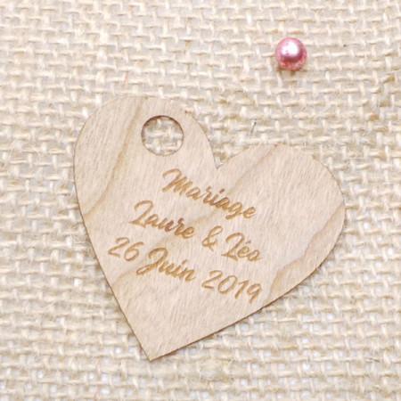 x1 Etiquette personnalisée coeur feuille bois