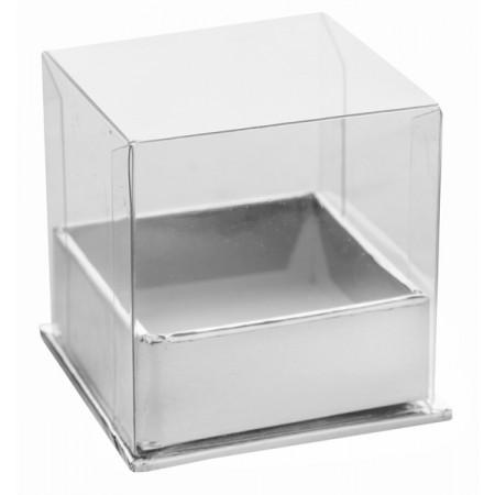 4 boîtes à dragées cubes argent -1
