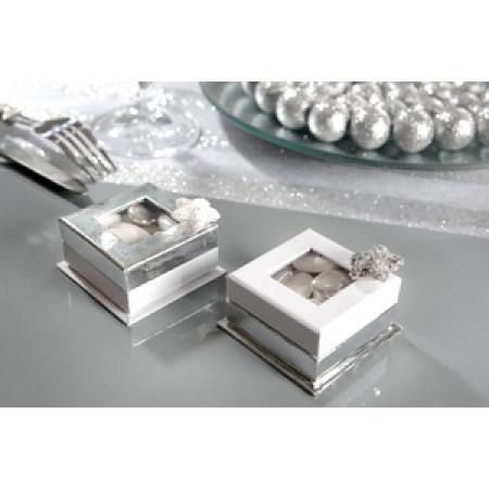 4 boîtes carrées à fenêtre argent -2