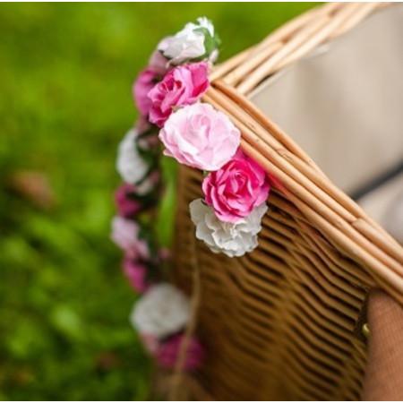 12 Roses papier sur tige fuchsia