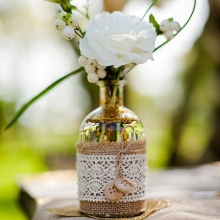 Vase jute et dentelle - 2