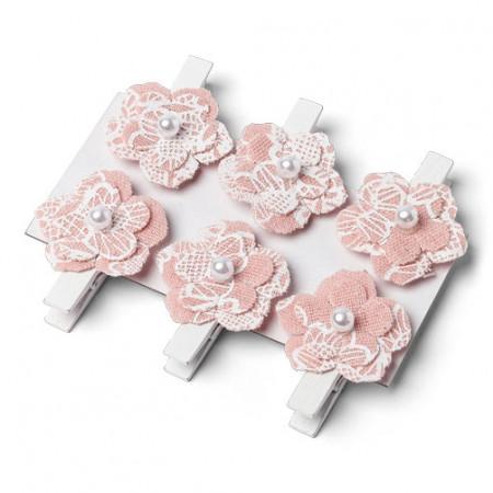 Pinces fleurs vieux rose x6 - 1