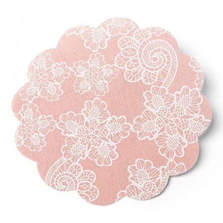 6 napperons en lin couleur vieux rose 15 cm
