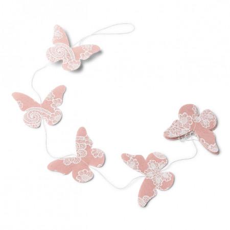 Guirlande papillons vieux rose - 1.20m  1