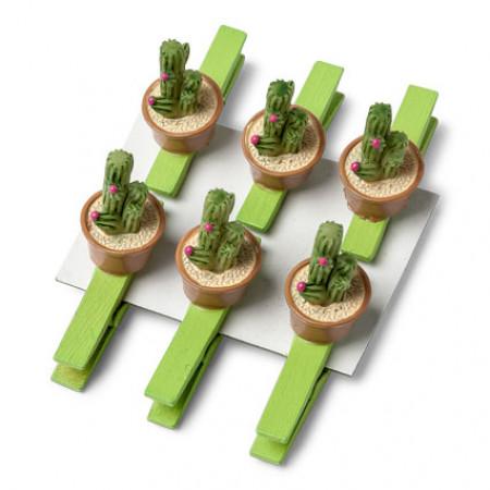 lot de 6 pinces cactus