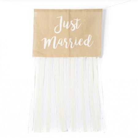 """kit décoration voiture mariage """"just married"""" jute et dentelle"""