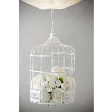 Urne cage oiseau - blanche