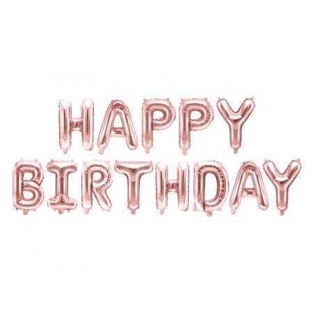 Ballon lettres Happy Birthday rose gold