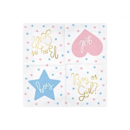 Serviettes Papier boy or girl rose bleu et or