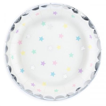 6 assiettes motifs étoiles multicolores