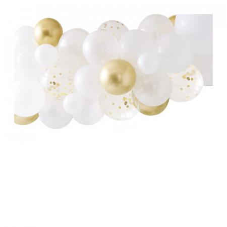 Arche à ballons blanc et or chromé