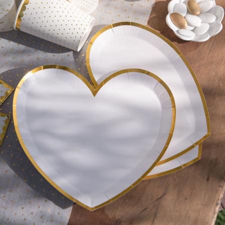Assiette forme coeur blanche liseré doré