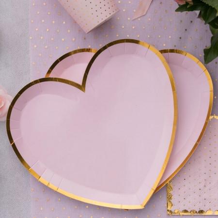 Assiette forme coeur rose poudré liseré doré