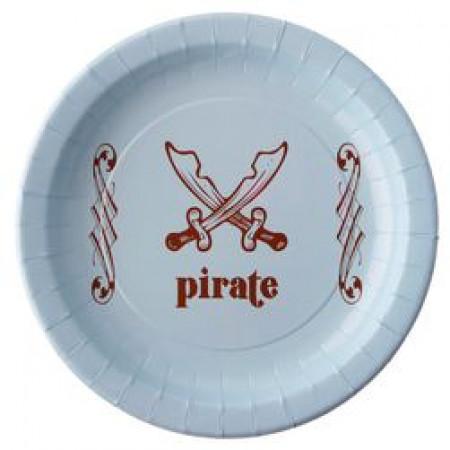 Assiette pirate de coloris bleu ciel