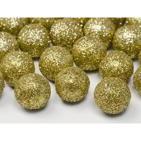 sachet de 25 boules pailletées couleur or décoration