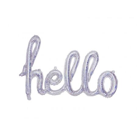 "ballon hélium ""hello"" argent irisé"