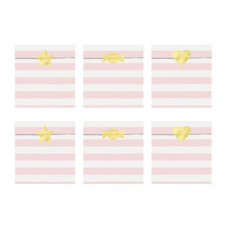 x6 Sachets Anniversaire Rayé rose et blanc avec stickers