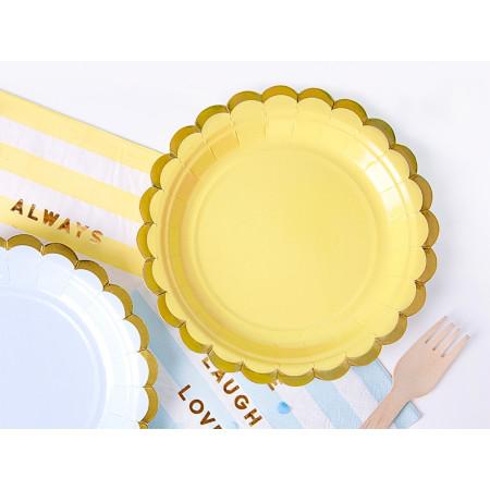 6 assiettes jaunes et or