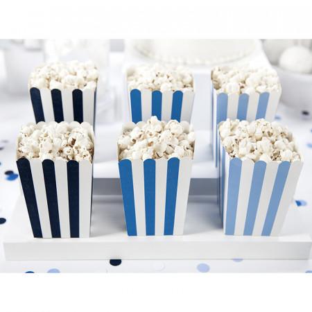 6 boites à pop corn bleu