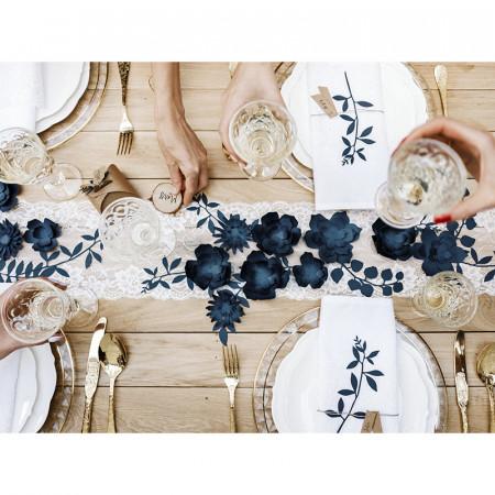 Décorations fleurs identiques bleues x 3