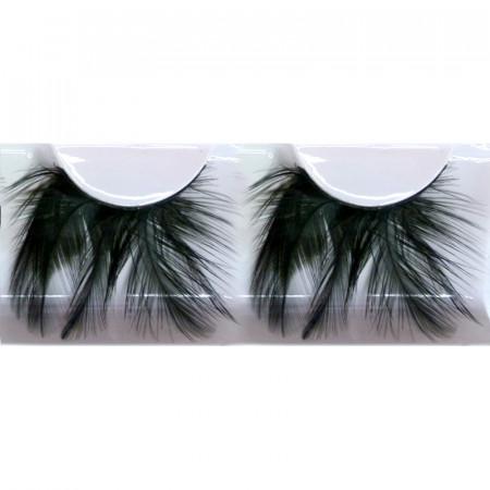 Paire de faux cils plumes - noir