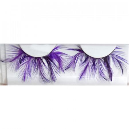 Paire de faux cils plumes - violet