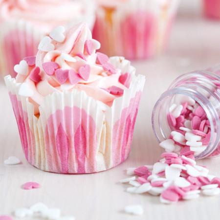 Confettis gâteau coeurs en sucre rose et blanc 80 g - 2