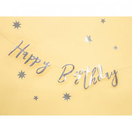 Guirlande argentée Happy Birthday 62 cm