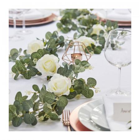 Guirlande Artificielle Eucalyptus et Rose Blanche