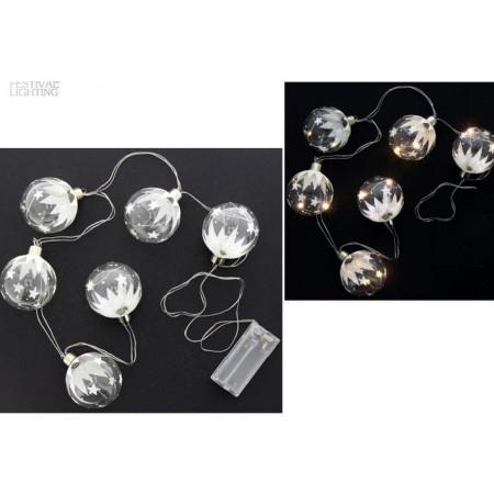 Guirlande 6 leds blanches forme boule en verre pas chère