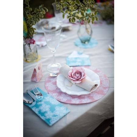 6 napperons en lin couleur vieux rose - 1