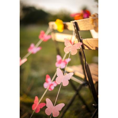 Guirlande papillons vieux rose - 1.20m  2
