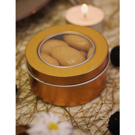 Boite pour dragées mariage en métal et pvc or