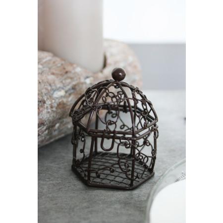Cage en métal chocolat