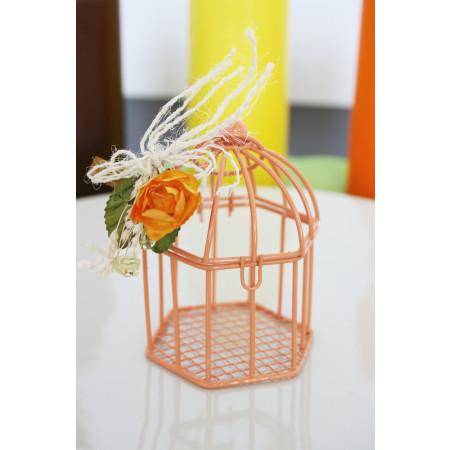 Cage en métal orange - 7 cm