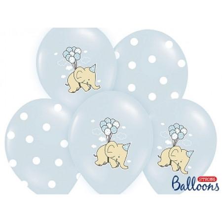 6 ballons éléphant - bleu clair