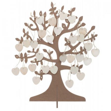 Livre d'or arbre à voeux avec coeur bois