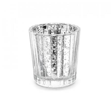 Photophore argenté en verre 6 cm x 4