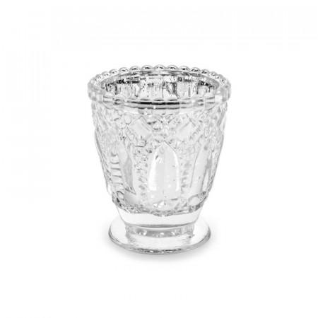 Photophore argenté en verre 8 cm x 4
